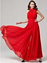 Salopeta Halter Lungime Podea Șifon Seară Formală / Concediu Rochie cu Pliuri de TS Couture®