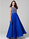 Linia -A Bijuterie Lungime Podea Șifon Dantelă Bal / Seară Formală / Gală Elegantă / Concediu Rochie cu Aplică Pliuri de TS Couture®