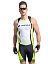 Nuckily Homme Manches Courtes Tenue de Triathlon - Vert Geometrique Velo Design Anatomique, Resistant aux ultraviolets, Respirable