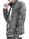 Bărbați Guler Cămașă Jachetă Șic Stradă - Bloc Culoare camuflaj