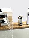 Nutida Romerskt badkar Vattenfall Handdusch inkluderad Keramisk Ventil Tre hål Enda handtag tre hål Krom, Badkarskran