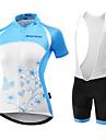 Malciklo Dam Kortärmad Cykeltröja med Haklapp-shorts - Ljusblå Blå och Svart Brittisk Cykel Vadderade shorts Bib Tights Tröja Klädesset,