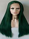 Синтетические кружевные передние парики Прямой Зеленый Стрижка каскад Зеленый Искусственные волосы Жен. Прямой пробор Зеленый Парик Длинные / Средняя длина Лента спереди