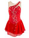 Robe de Patinage Artistique Femme / Fille Patinage Robes Rouge Strass / Paillette Haute elasticite Utilisation / Exercice / Sport de