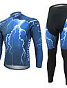 WEST BIKING® Herr Långärmad Cykeltröja och tights - Blå Cykel Tröja Klädesset, 3D Tablett, Snabb tork, Anatomisk design,