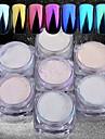 7 7pcs Glitter Powder Mirror Effect / Nail Glitter Nail Art Design
