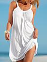Pentru femei Plajă De Bază Shift Rochie Mată Cu Bretele Mini Alb / Vară