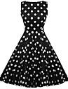 Pentru femei De Bază Bumbac Zvelt Teacă Rochie Mată Talie Înaltă Lungime Genunchi Negru / Vară / Buline