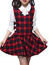 Fete Set Îmbrăcăminte Mată Plisat Bumbac Poliester Zilnic Concediu Primăvară Toamnă Manșon Lung Simplu Activ Trifoi Roșu-aprins