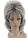 Synthetische Peruecken Locken Stil Stufenhaarschnitt Kappenlos Peruecke Grau Grau Synthetische Haare Damen Gefaerbte Haarspitzen (Ombré Hair) Grau Peruecke Mittlerer Laenge hairjoy Natuerliche Peruecke