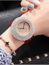 Dame Luksus Ure Paveklokke Diamond Watch Quartz Ekte laer Svart / Hvit / Roed Hverdagsklokke Analog damer Fritid Mote - Svart kaffe Roed