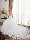 Haine Bal Fără Bretele Trenă Capelă Satin / Tulle Made-To-Measure rochii de mireasa cu Detalii Cristal / Flori de LAN TING BRIDE®