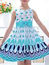 fată zilnică de ieșire floral imprimare rochie de primăvară vară fără mâneci simplu galben activ