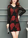 Pentru femei Mărime Plus Size Concediu Șic Stradă Zvelt Bodycon Rochie Floral În V Sub Genunchi / Vară