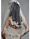 Două Straturi Stilat Perlă Voal de Nuntă Voaluri Lungi Până la Cot Cu Perlă Artificială Broderie POLY