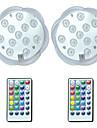 brelong® 2 st 3w 12 leds undervattenslampor fjärrstyrd / vattentät / dekorativ rgb 5,5v simbassäng