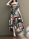 Dámské Bavlna Pouzdro Šaty - Barevné bloky Maxi