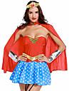 Superheros Guerrier Costume de Cosplay Costume de Soiree Femme Noel Halloween Carnaval Fete / Celebration Lycra Tenue Bleu+Rouge Mosaique