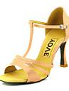 Pentru femei Pantofi Dans Latin / Pantofi Salsa Satin Sandale / Călcâi Cataramă / Legătură Panglică Toc Personalizat Personalizabili Pantofi de dans Bronz / Migdală / Culoarea pielii / Performanță