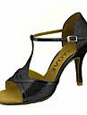 בגדי ריקוד נשים נעליים לטיניות / נעלי סלסה נצנצים / דמוי עור סנדלים / עקבים אבזם / עניבת פרפר עקב מותאם מותאם אישית נעלי ריקוד כסף / אדום / כחול / הצגה / מקצועי