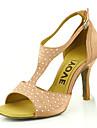 Femme Chaussures Latines / Chaussures de Salsa Soie / Satin Sandale / Talon Utilisation / Professionnel Boucle / Ruban Talon Personnalise