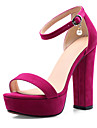 Women\'s Shoes Suede Spring & Summer Comfort / Novelty Sandals Chunky Heel Open Toe Pearl / Buckle Black / Fuchsia / Almond