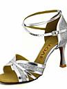 בגדי ריקוד נשים נעליים לטיניות / נעלי סלסה נצנצים / דמוי עור סנדלים / עקבים אבזם / עניבת פרפר עקב מותאם מותאם אישית נעלי ריקוד זהב / שחור / כסף / הצגה / מקצועי