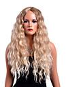 Peruki koronkowe z naturalnych włosów Curly Styl Przedziałek na środku Bez czepka Peruka Blond Truskawkowy blond / Jasny blond Włosie synetyczne Damskie Modny design / Impreza Blond Peruka Długie