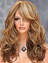 Syntetiska peruker Vågigt Blond Frisyr i lager Syntetiskt hår Sidodel / Med Bangs / För europeisk Blond Peruk Dam Mellan / Mellanlängd Utan lock