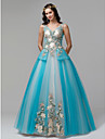 Prințesă În V Lungime Podea Dantelă / Tulle Seară Formală Rochie cu Broderie de TS Couture®