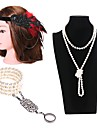 The Great Gatsby Vintage 1920s Flapper Costume Costume Women\'s Flapper Headband Head Jewelry Pearl Necklace Slave Bracelet Golden / Black & White / Black / White Vintage Cosplay