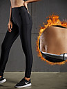 Women's Fold Over Waist Yoga Pants Black Sports Solid Color Spandex High Rise Tights Zumba Fitness Workout Activewear Moisture Wicking Compression Micro-elastic / Winter
