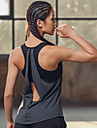 Women\'s Cut Out Yoga Built In Bra Tank Grey Sports Fashion Tank Top Zumba Yoga Running Sleeveless Activewear Lightweight Breathable Quick Dry Sweat-wicking Stretchy