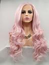 Synthetische Lace Front Peruecken Grosse Wellen Rosa Seitenteil Rosa + Red 130% / 180% Human Hair Dichte Synthetische Haare 20-26 Zoll Damen Damen / Jugend Rosa Peruecke Lang Spitzenfront / ja