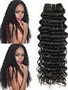 4 pakker Brasiliansk hår Dyb Bølge Jomfruhår Ubehandlet Menneskehår Menneskehår, Bølget Én Pack Solution Hårforlængelse af menneskehår 8-28 inch Naturlig Farve Menneskehår Vævninger Ny ankomst Tyk