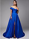 Balowa Z odsłoniętymi ramionami Tren kapliczny Tafta Kolacja oficjalna Sukienka z Rozcięcie z przodu przez TS Couture®