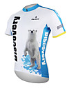 ILPALADINO Men\'s Short Sleeve Cycling Jersey - White+Blue Polar Bear Bike Jersey Top Breathable Quick Dry Ultraviolet Resistant Sports 100% Polyester Mountain Bike MTB Road Bike Cycling Clothing