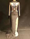 أزياء الرقص ملابس رقص غير مألوفة / بودي سوت بأحجار الراين للمرأة أداء سباندكس منفصل / كريستال / أحجار الراين كم طويل فستان