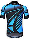 Arsuxeo Heren Korte mouw Wielrenshirt - Blauw Fietsen Shirt Reflecterende strips Zweetafvoerend Sport 100% Polyester Bergracen Wegwielrennen Kleding