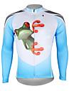 ILPALADINO Homme Manches Longues Maillot de Cyclisme - Bleu et blanc Grenouille Cyclisme Maillot Hauts / Top, Respirable Sechage rapide Resistant aux ultraviolets 100 % Polyester