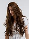 Synthetische Peruecken Locken Braun Mittelteil Braun Synthetische Haare 28 Zoll Damen Natuerlicher Haaransatz Braun Peruecke Mittlerer Laenge Kappenlos MAYSU