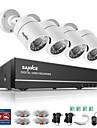 sannce® 4ch 4pcs 720p hd camera 1080n hdmi vga dvr & systeme de securite de surveillance a domicile etanche a vision nocturne