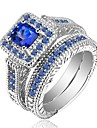 Dámské Kubický zirkon Retro Band Ring S925 Sterling Silver Kytky Klasické Vintage Elegantní Fashion Ring Šperky Modrá Pro Svatební Zásnuby Obřad 6 / 7 / 8 / 9 / 10 2pcs