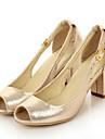 Mulheres Sapatos Confortaveis Couro Ecologico Verao Sandalias Salto Robusto Dourado / Vermelho / Azul