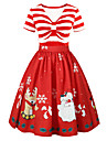 Dress Christmas Dress Santa Clothes Adults\' Women\'s Dresses Christmas Christmas New Year Festival / Holiday Polyster Red Carnival Costumes Christmas Printing