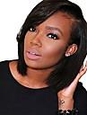 Aidot hiukset Lace Front Peruukki Bob-leikkaus Lyhyt Bob Rihanna tyyli Brasilialainen Suora Musta Peruukki 130% Hiusten tiheys ja vauvan hiukset Luonnollinen hiusviiva Tummille naisille 100% Neitsyt