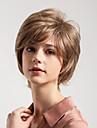 Human Hair Capless Parykker Ekte haar Kroellet Pixiefrisyre Ny ankomst / Naturlig haarlinje Lysebrun Kort Lokkloes Parykk Dame