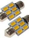 SENCART 2 szto. 31 mm Samochód Żarówki 3 W SMD 5730 180 lm 6 LED Oświetlenie wnętrza / Światła zewnętrzne Na