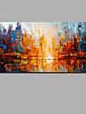 Hang-ζωγραφισμένα ελαιογραφία Ζωγραφισμένα στο χέρι - Αφηρημένο Τοπίο Σύγχρονο Μοντέρνα Περιλαμβάνει εσωτερικό πλαίσιο / Κυλινδρικός καμβάς / Επενδυμένο καμβά