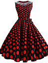 Audrey Hepburn Polka Dots Retro / Vintage 1950s Costume Women\'s Dress Fuschia Vintage Cosplay Sleeveless Knee Length